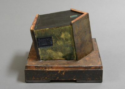 Sculpture by William Bowser, House Sinking, 5 1/2 x 6 3/4 x 5 3/4