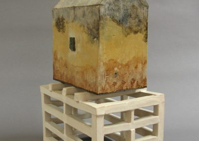 Sculpture titled House withBlue Door and Stand,13 1/4 x 8 3/8 x 5 5/8