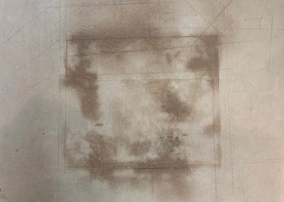 Drawing by William Bowser titled Accidental Drwg: #2, mold on linen, 11 x 11