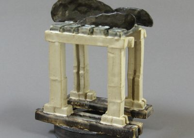 Ceramic Fabrication by William Bowser called Black Cloud Folly dxxii; 7 x 5 1/2 x 4