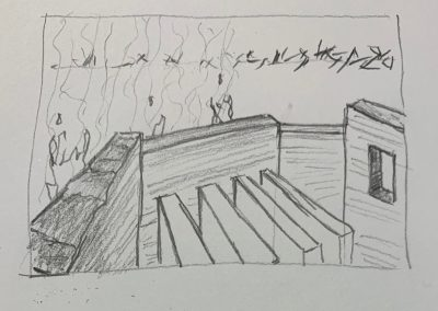 Sketchbook drawing by William Bowser, pencil on paper