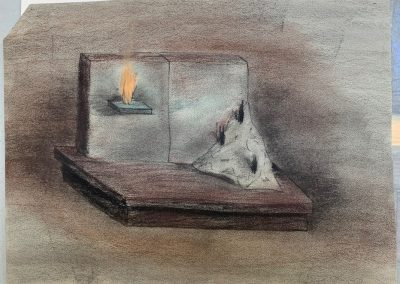 """Drawing by William Bowser """"Titled Ritual Space,"""" pastel on paper, 9 x 12"""