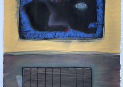 Drawing by William Bowser titled Beast and Fence, gouache, pastel on paper, 16 x 13