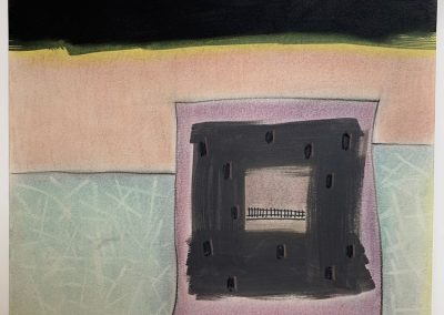 Drawing by William Bowser titled Window in Landscape, gouache and pastel on paper, 12 x 13