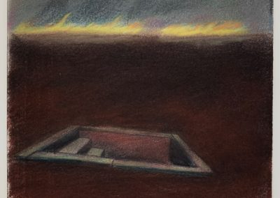 Charcoal Drawing by William Bowser title Emergency Exit, gouache, pastel on paper