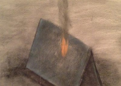"""Drawing by William Bowser titled """"Roof Fire"""", pastel on paper, approx. 15 x 15 unframed"""